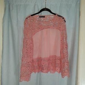 Gamiss Tops - Gamiss Pink Floral Pattern Lace Blouse with Tags